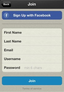 Signing up with Facebook