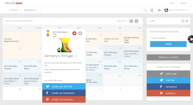 CircleMe Calendar for the WC2014