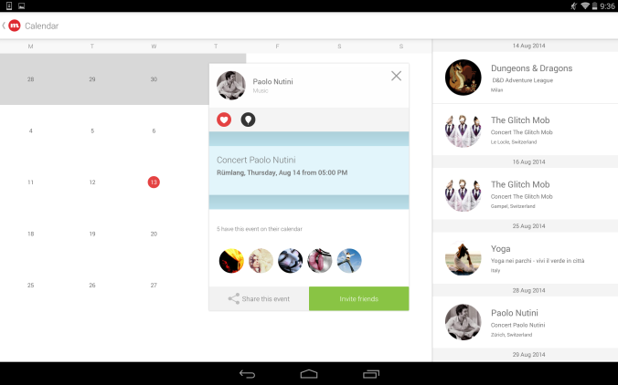 CircleMe Calendar on Tablet